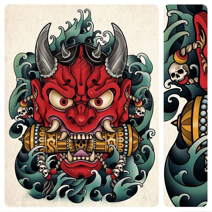 Japanese 'ONI' mask tattoo I designed as a stomach tattoo for client of tattooist Shaun Loyer. Interesting that these old masks are now how a lot if other cultures see's the 'devil' #oni #japanese #japanesetattoo #scroll #scrolltattoo #samphillips #samphillipsillustration #horns #water #art #tattoo #tattooflash #mask #masktattoo