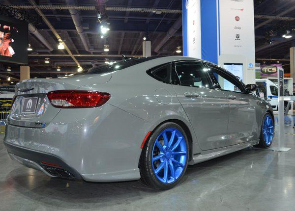 Ceramic Grey Metallic exterior w a Mopar body kit, parts & more this @Chrysler 200 S is a pure beauty #MoparSEMA2015