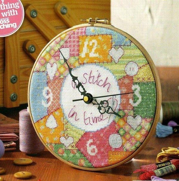 handmade clock from cross stitch