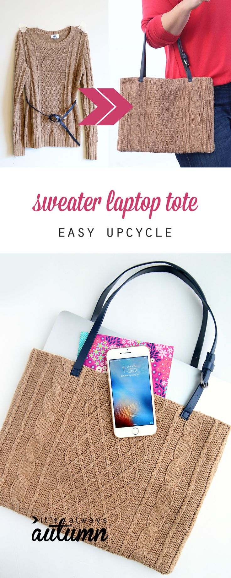 What a fun idea! Make a DIY laptop tote from a thrifted sweater. She even used a belt for the handles! The sewing tutorial looks super easy.