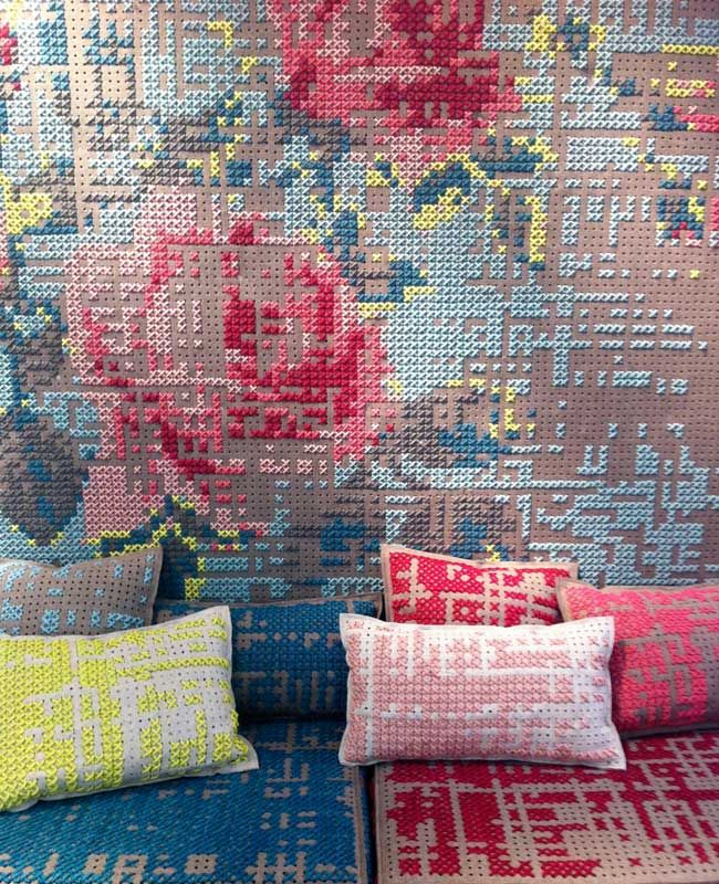 Same very unique design but this time with macro stitches by Charlotte Lancelot. Gan has launched a new concept called Gan Spaces. The rug is the starting point and then you have the option to elaborate in its design by adding coordinating cushions, poufs and accessories.CLancelot