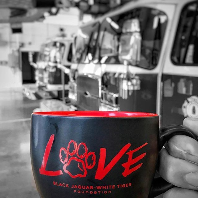 Loving this photo of our BJWT Coffee Mug from Firefighter, chef, and craftsman @jason_parisi_x71 :) thank you so much to everyone who has donated at boycottcircus.org and gotten our amazing new coffee mugs!! #blackjaguarwhitetiger #itsallforlove #DonateToday #BJWTshop @blackjaguarwhitetiger