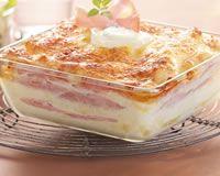 Lasagnes légères au chèvre et au bacon                                                                                                                                                                                 Plus