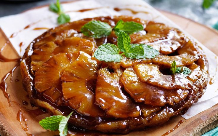 Simmer in season pineapple with mixed spices and create a tropical twist of the French tarte tatin dessert. Serve with creamy vanilla ice-cream... delish!