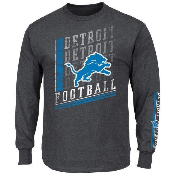 NFL Detroit Lions Men's Big and Tall Dual Threat Long Sleeve T-Shirt
