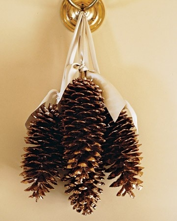 Glitter backs and tips of Sugar Pinecones; use drill to insert eye hooks into the base, then tie with ribbon.  DIY instructions on link below.