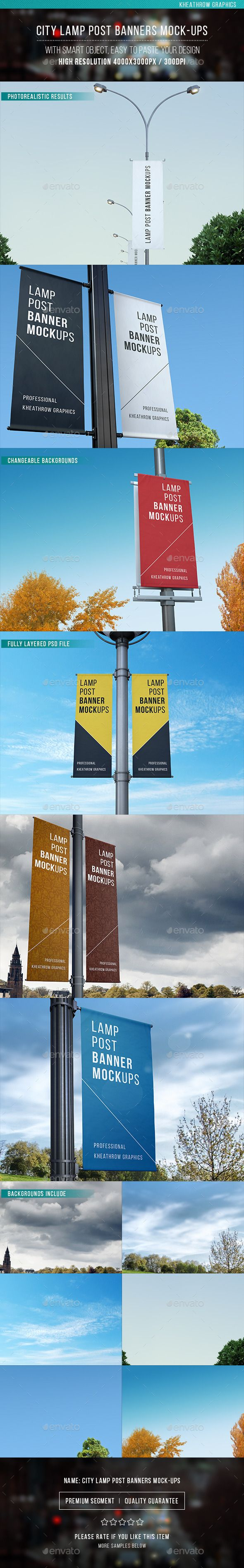 City Lamp Post Banners Mock-ups