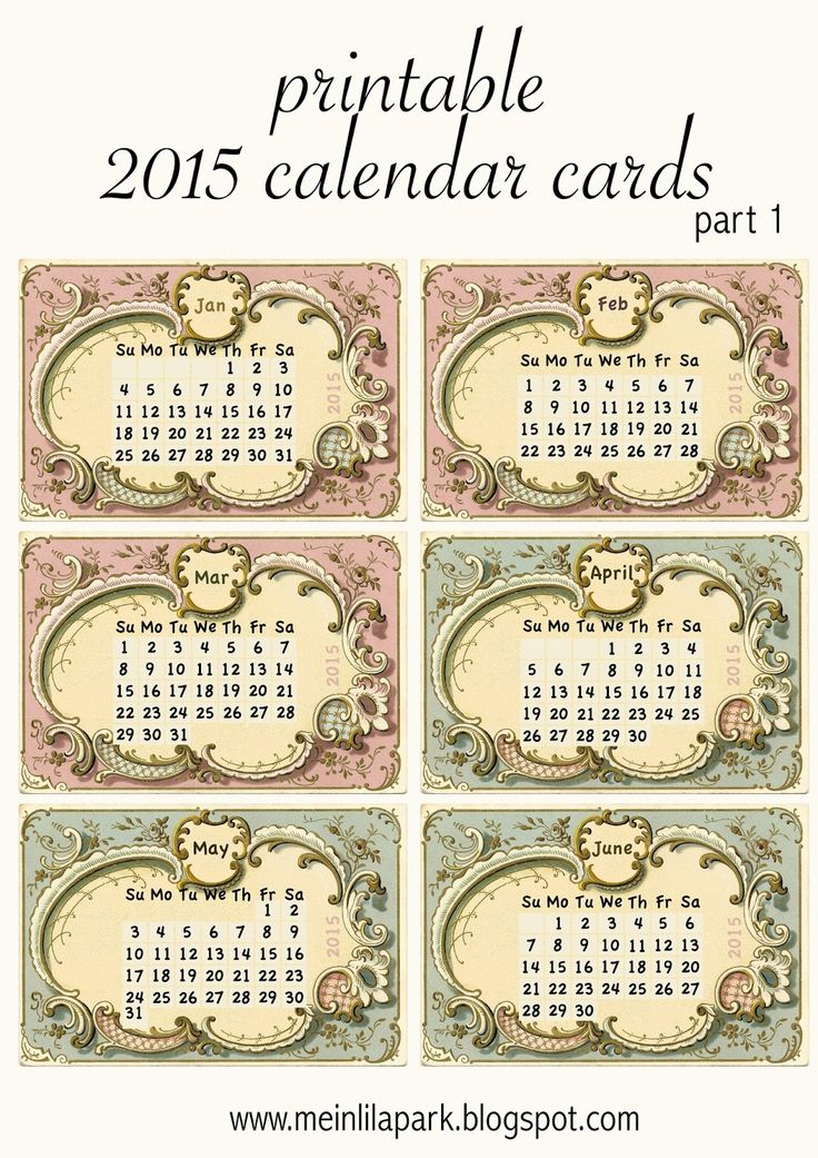 MeinLilaPark – DIY printables and downloads: Free printable 2015 calendar cards : part 1 - ausdruckbarer Kalender 2015 - freebie