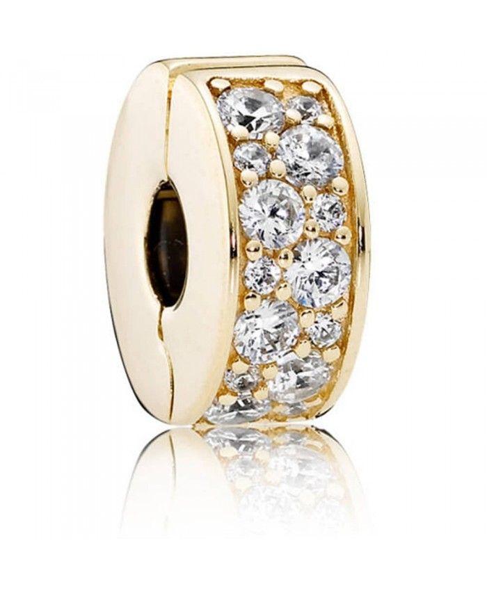 Pandora 14ct Gold Shining Elegance Clip Pandora Gold New Pandora Charms Pandora Charms