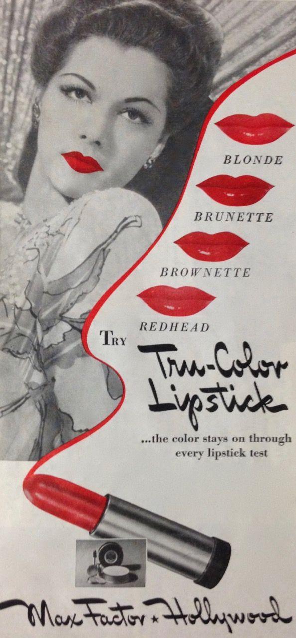 """Max Factor """"Tru-Color"""" Lipstick Ad, 1943"""