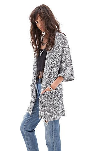 Marled Open-Front Cardigan | FOREVER 21 - 2000066697