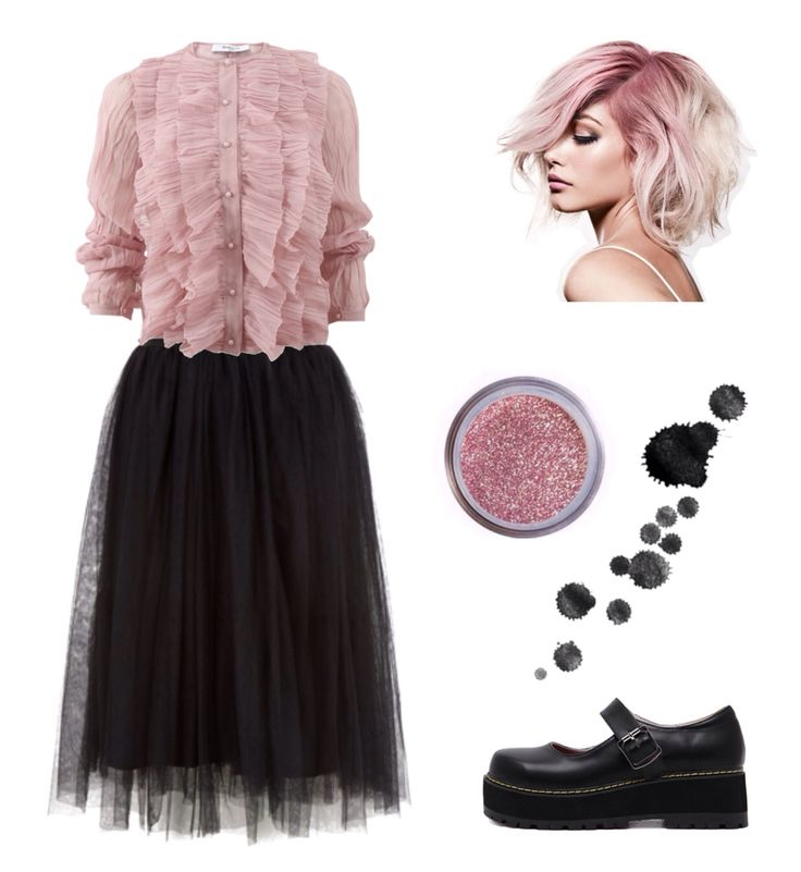 #look #fashion #polyvore Pastel pink and tule midi skirt