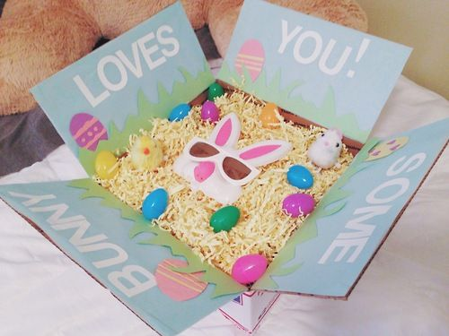 292 best care package ideas images on pinterest gift hampers some bunny loves you easter care package so excited for him to get negle Choice Image