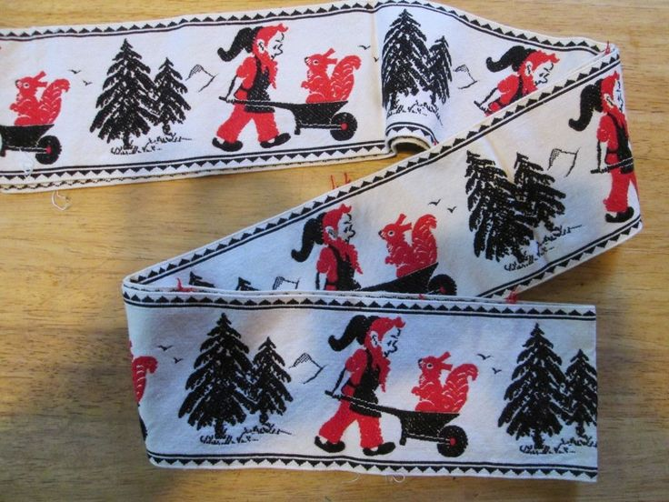 Vintage Woven Trim Scandinavian Elf wheelbarrow squirrel trees 2 yards CUTE!