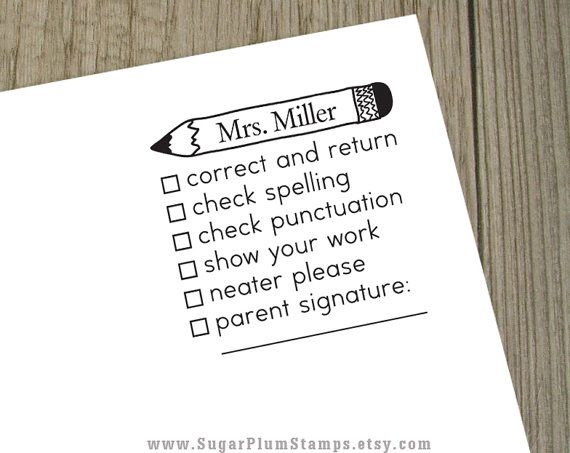 Customized teacher stamp for grading papers, made to order. Make life a bit easier for your favorite teacher, or if you are a teacher, hey, why