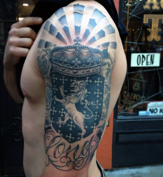 Blue Lion Mens Arm Family Crest Tattoo Ideas | Tattoos
