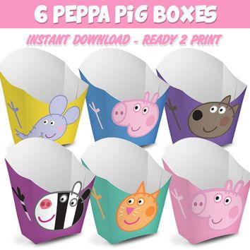 6 Popcorn Box Peppa Pig - Ready to print - Instant Download (You can purchase)