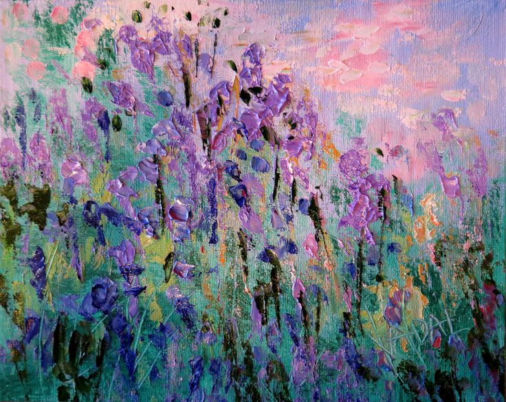 Original oil painting abstract impressionist lavender