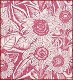Solrosor  Printed Linen Panel  by Tyra Lundgren   Swedish, early 1950s