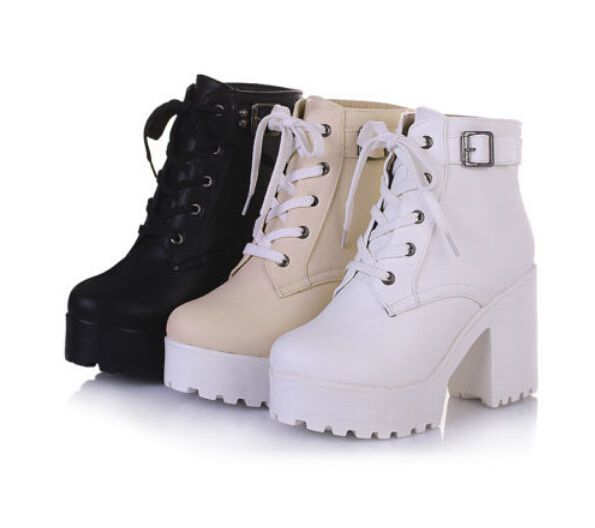 Fashion Women's Lace Up Buckle Platform Block High Heel Ankle Boots Shoes Punk 8