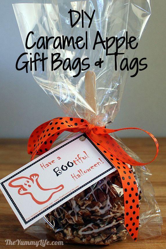 Easy DIY Gourmet Caramel Apple Gift Bags & Tags. www.theyummylife.com/Caramel_Apple_Gift_Bags: Gifts Bags, Apples Gifts, Candy Apples, Fall Gifts, Gifts Tags, Apple Gifts, Recipes Theyummylif, Apples Food, Caramel Apples