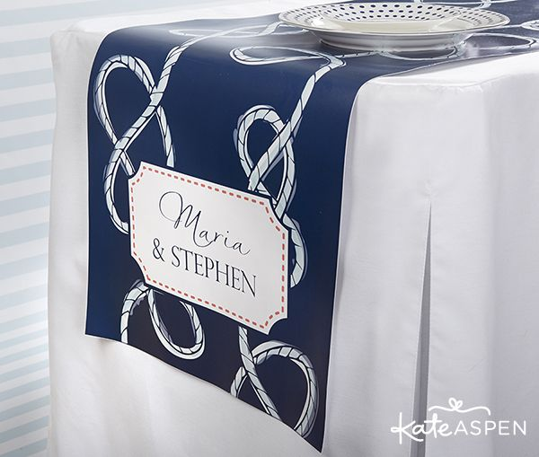 Nautical blue table runner with bride and groom's names