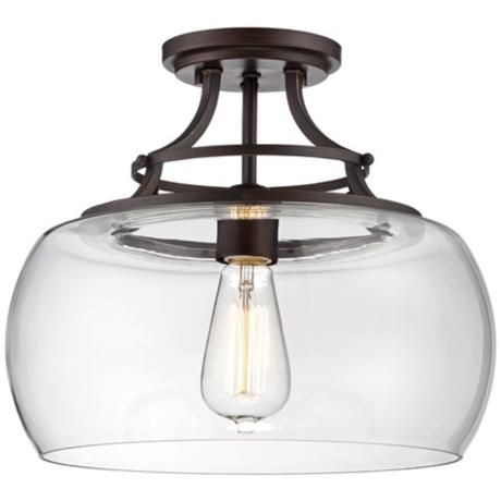 "Charleston 13 1/2"" Wide Clear Glass Ceiling Light- Lamps Plus"