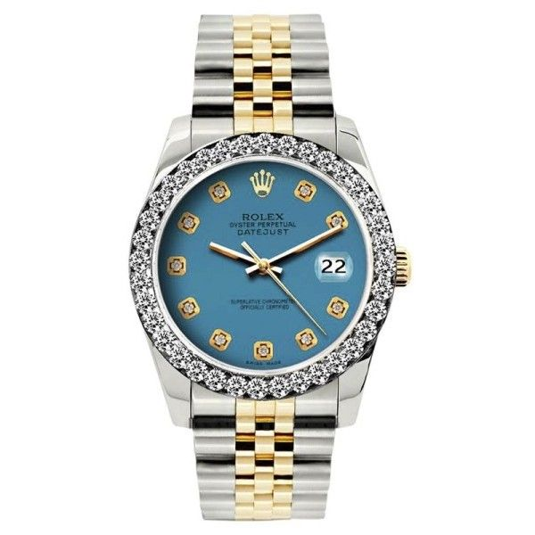 Pre-owned Rolex Datejust 18K Yellow Gold / Stainless Steel Diamond... (258.600 RUB) ❤ liked on Polyvore featuring jewelry, watches, preowned watches, diamond dial watches, rolex watches, gold wrist watch and gold diamond watches