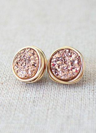 Bridesmaids Earrings / Druzy Stud Earrings / Rose