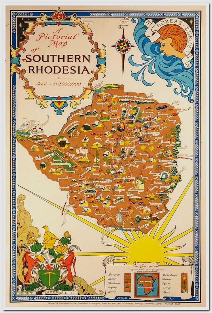 Africa Map Horn Of Africa%0A BAYLIS  A W  Southern Rhodesia  Original lithograph with colour  linen  backed  designed  u
