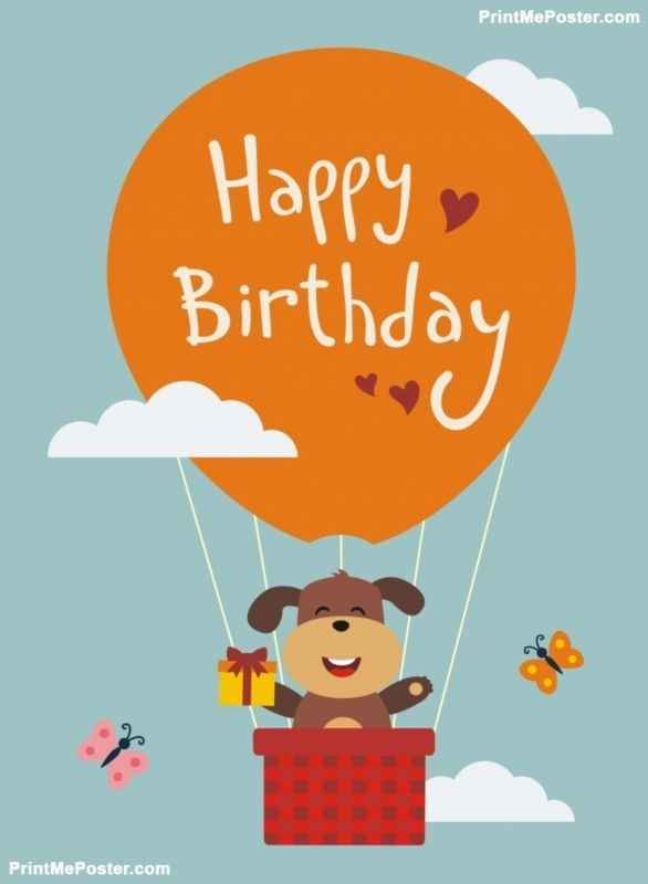 28 best happy birthday posters images on pinterest happy birthday funny puppy flying on balloon with birthday gift in hand happy birthday card cartoon puppy wishes happy birthday negle Image collections