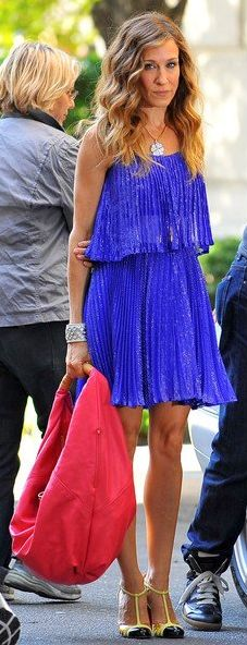 Sex and the City: Carrie in a Halston Heritage Dress, Christian Louboutin Gino T-strap Heels and a Sylvia Hobo Bag