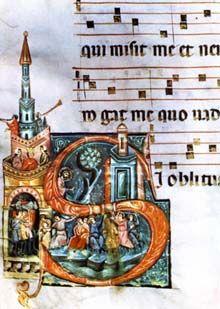 Miniatura di Oderisi da Gubbio ( 1240 ca. - Roma, 1299 ). Vastissima fu la sua fama e la sua produzione. La prima è attestata dalla citazione dantesca, che lo fa il massimo esponente della miniatura romanica, in contrapposizione alle novità gotiche introdotte da Franco Bolognese.
