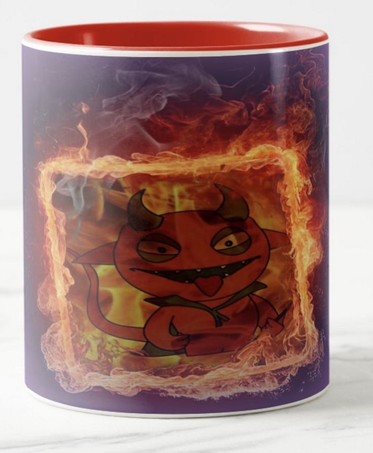 Here's a hot one for you. A colourful coffee mug with Little Lucifer enjoying himself. This could be a fun mug for the kids if you're looking for something a bit unusual. Enjoy the fun!
