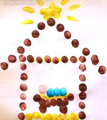 Baby Jesus in the Manger Fingerprint Art FROM: Christmas & Winter Fingerprint Craft Ideas For Kids - Crafty Morning