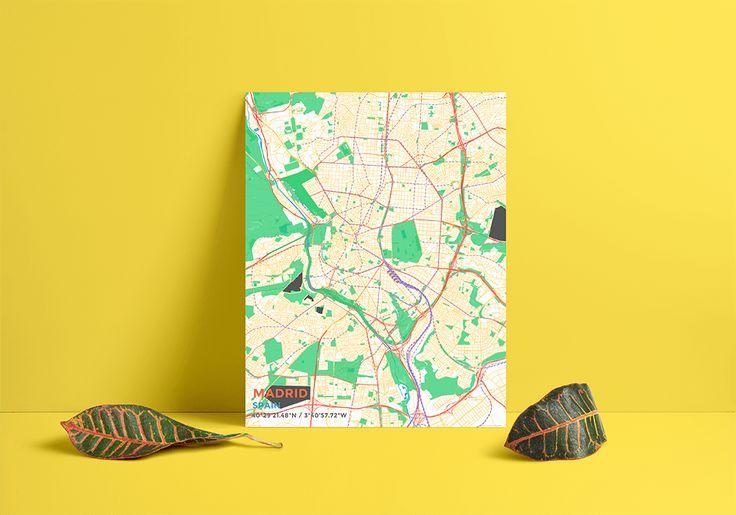 Premium Map Poster of Madrid Spain - Subtle Colorful - Unframed - Madrid Map Art