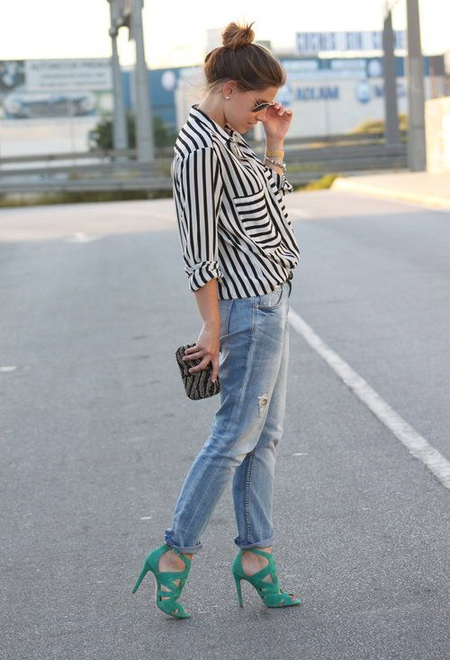 Street Style With Black Lining Shirt Jean And High Heel In Green Color For Ladies Click The Picture To See More