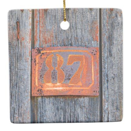 Old Grunge Rusty Metal House Number No. 87 Photo  Ceramic Ornament - metal style gift ideas unique diy personalize