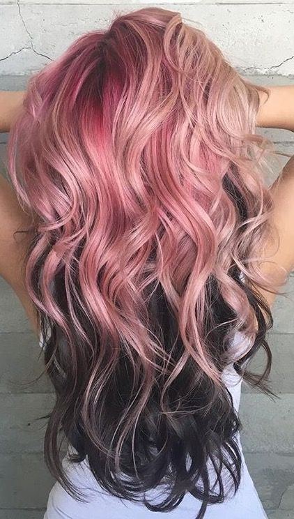 Pink and black hair.