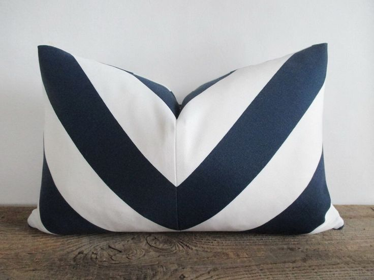Pillow Cover Lumbar 12 X 18 Mitered Chevron Navy Blue White Stripes Indoor  Outdoor By UppNorthCo