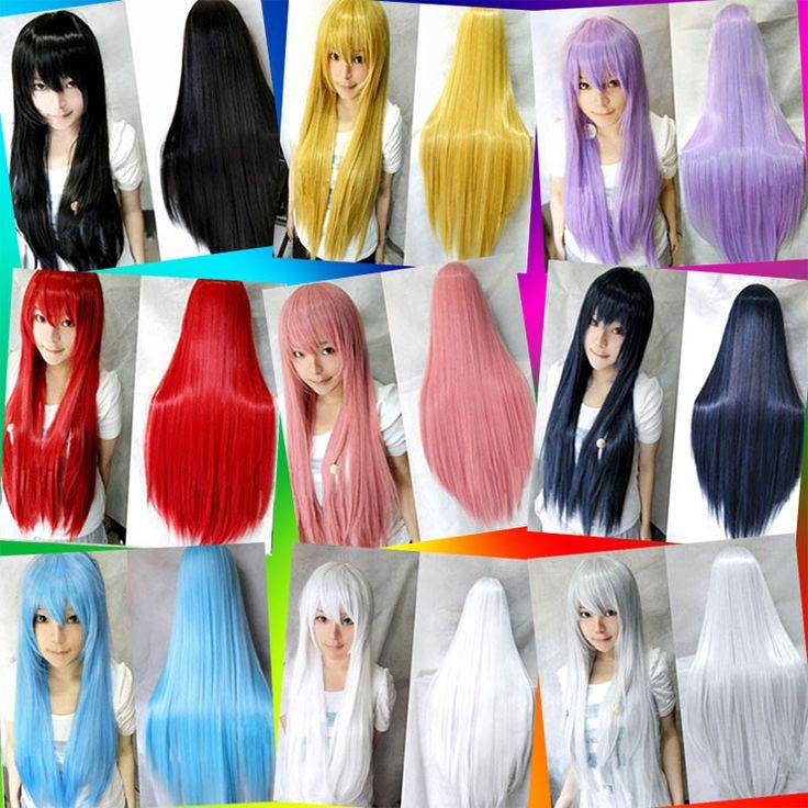 80センチ長いストレート女の子のアニメコスプレかつら、女性の黒/ブロンド/ピンク/赤フル髪かつら、シルバーホワイト人工毛かつらウィッグ