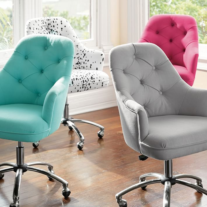 Tufted Desk Chair- check it out featured in a diy with MayBaby