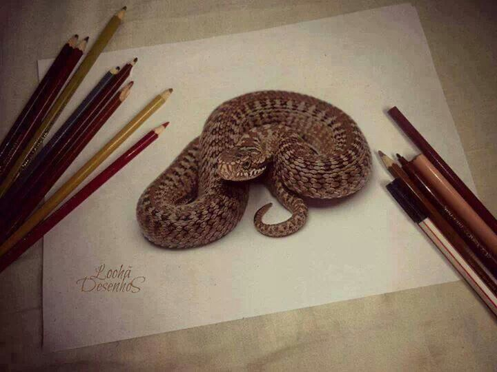 3D snake drawing | Art ideas - Coloured Pencil | Pinterest ...