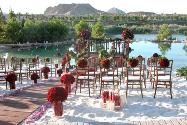 Hilton Lake Las Vegas http://www3.hilton.com/en/hotels/nevada/hilton-lake-las-vegas-resort-and-spa-LASLKHF/index.html with it's beautiful beach side ceremony venue, is the perfect place for a Las Vegas wedding ceremony. This site is elegant and unique with a white sandy beach. Is this really Vegas? Stop by their booth at the Bridal Spectacular Show http://www.bridalspectacular.com.