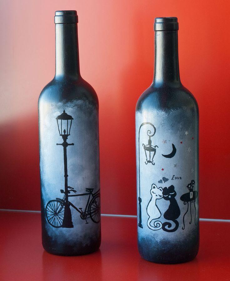17 mejores ideas sobre botellas de vino pintadas en - Como pintar botellas de plastico ...