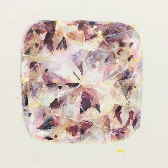 "Pink Diamond, Diamond Art, Cushion Cut Diamond, Drawing of a Diamond, Ink, Watercolor, Acrylic, Paper, Small Wall Art, 6""x6"", 15cm x 15cm"