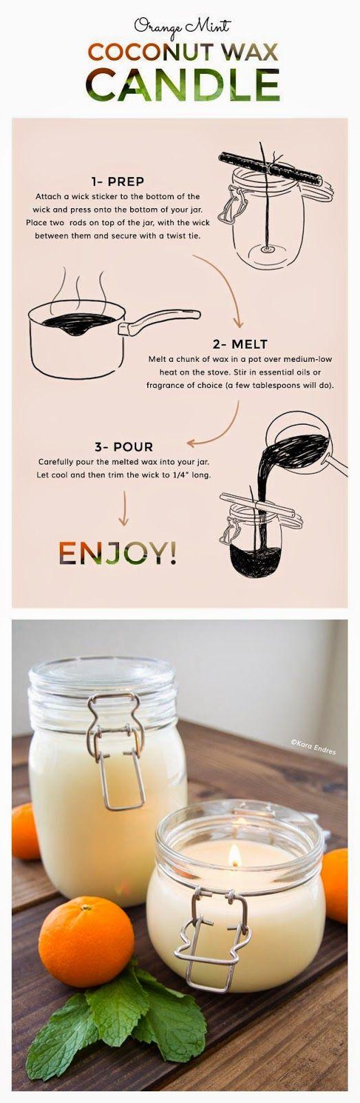 DIY: orange mint coconut wax candle