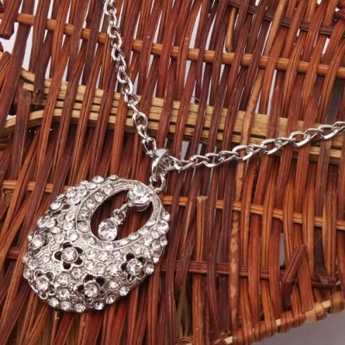 Lovely Oval  Bejeweled Necklace
