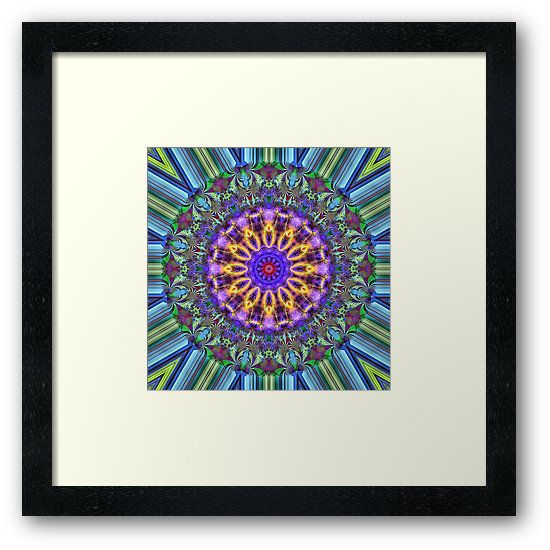 Inner Radiance Framed Print by Terrella.  A colourful mandala backed by lines of blue, green, brown & black. The mandala features glowing lines, flourishes & swirls. • Also buy this artwork on wall prints, apparel, phone cases, and more.