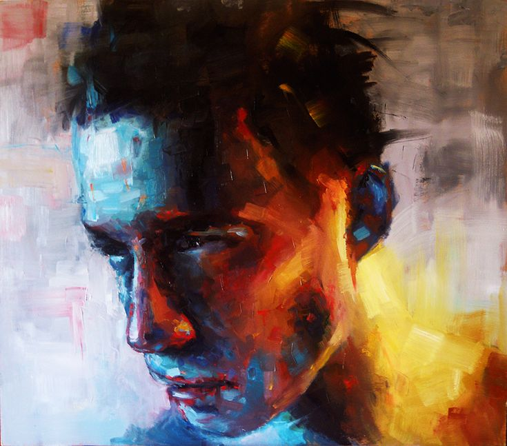 Artist: Alessio Radice; Vigevano, Italy {colorful facial portrait painting}